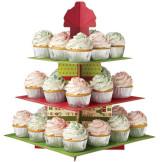 Stand Cupcakes Cuadrado Rojo y Verde