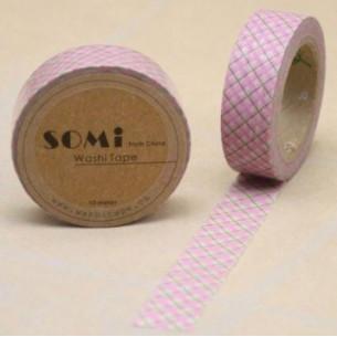 Washi Tape Cuadros Rosas-Negros