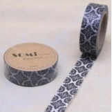 Washi Tape Blanco Flores Negras