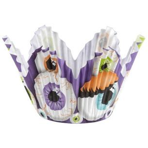 Capsulas cupcakes petalos ojos Halloween Wilton