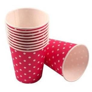 Set 10 vasos de papel Lunares Rosa