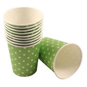 Set 10 vasos de papel Lunares Verde