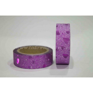 Washi Tape Purpurina Rosa Corazones
