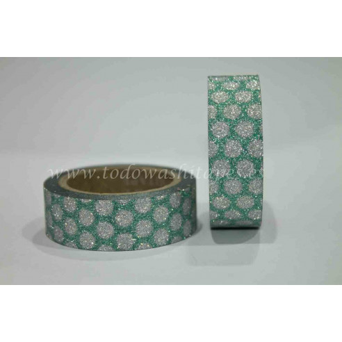 Washi Tape Purpurina Lunares Verde-Plata