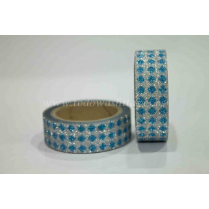 Washi Tape Purpurina Rombos Azul-Plata