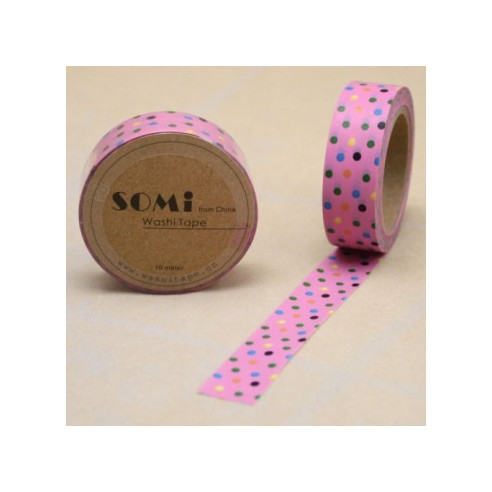 Washi Tape Rosa Lunares Colores