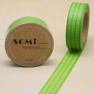 Washi Tape Verde Espirales Blancas
