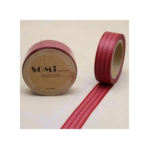Washi Tape Rojo Espirales Blancas