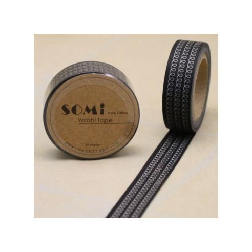 Washi Tape Negro Espirales Blancas