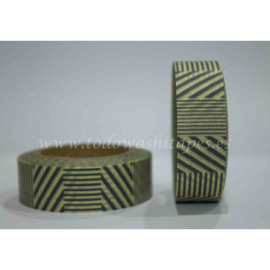 Washi Tape Amarillo Rayas Grises