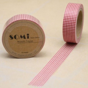 Washi Tape Cuadritos Rojos