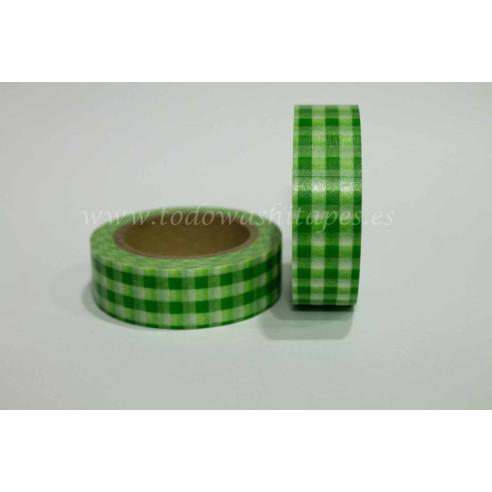 Washi Tape Cuadros Verde
