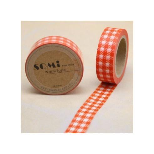 Washi Tape Cuadros Naranja