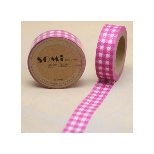 Washi Tape Cuadros Rosa