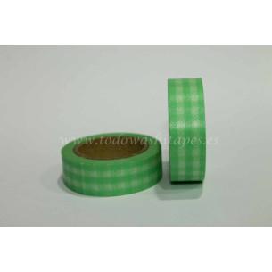 Washi Tape Cuadros Verde Claro