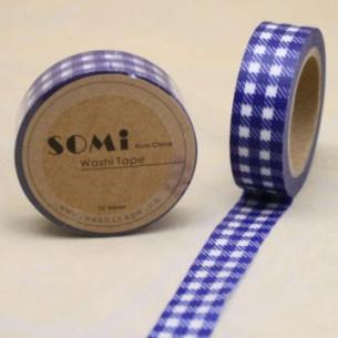 Washi Tape Cuadros Azul