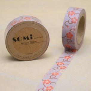Washi Tape Gris Ramo Naranja