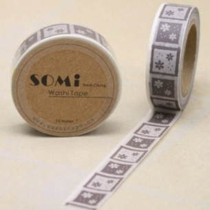 Washi Tape Cuadros Grises con Flores