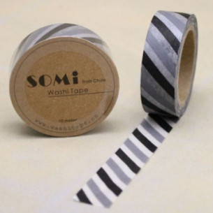 Washi Tape Rayas Grises y Negras