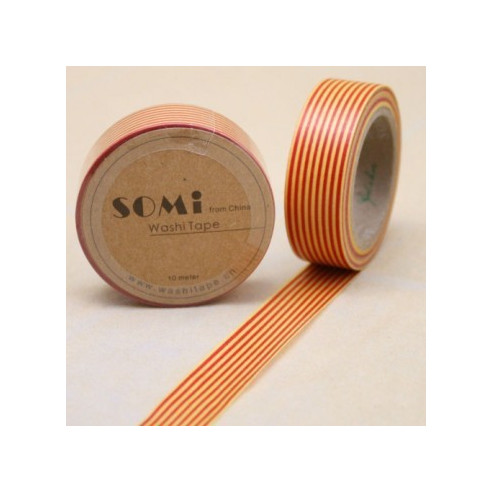 Washi Tape Lineas  Rojo - Amarillo