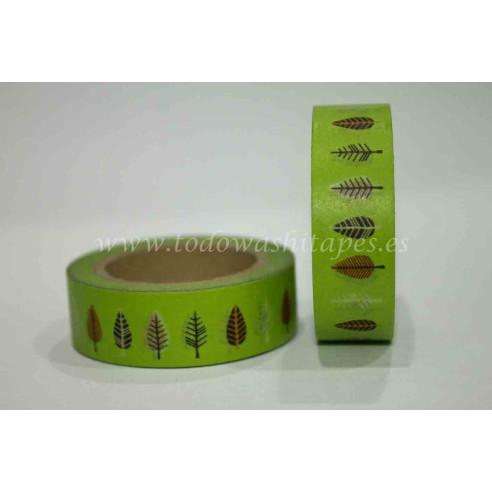 Washi Tape Verde con Hojas
