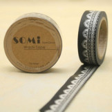 Washi Tape Negro Encaje Blanco