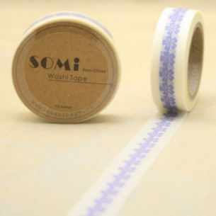 Washi Tape Blanco Flores Azules