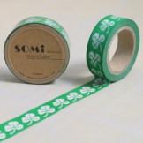 Washi Tape Verde Treboles Blancos