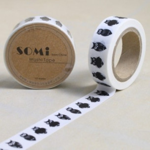 Washi Tape Blanco Buhos Negros