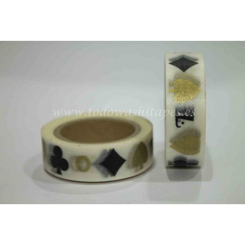 Washi Tape Poker Negro - Dorado