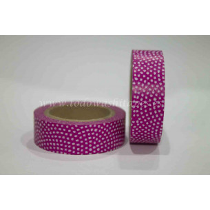Washi Tape Fucsia puntitos Blancos