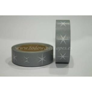 Washi Tape Gris Estrellas Blancas