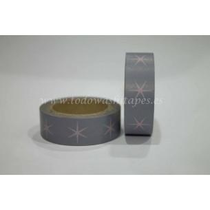 Washi Tape Gris Estrellas Rosas