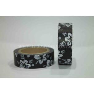 Washi Tape Negro Flores Blancas