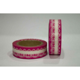 Washi Tape Rosa puntilla Blanca