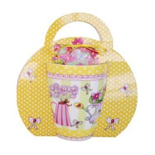 Taza de cerámica Flores (Amarilla)