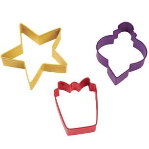 Set 3 Cortadores de galletas Regalo-Estrella-Bola Wilton
