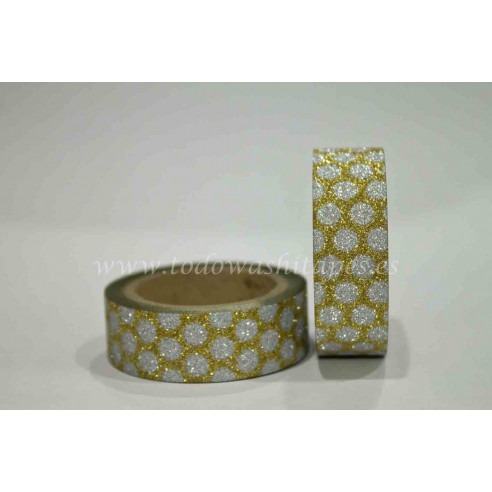 Washi Tape Purpurina Lunares...