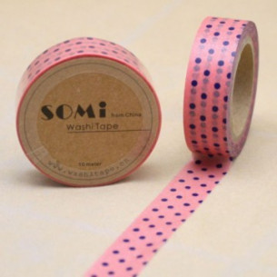 Washi Tape Rosa Lunares Azules