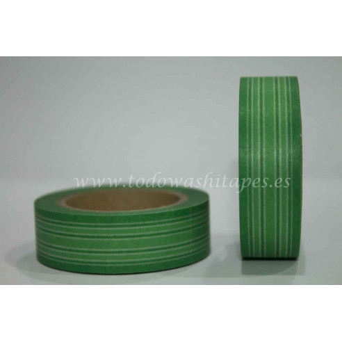 Washi Tape Lineas Tonos Verdes
