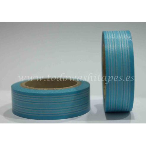 Washi Tape Lineas Tonos Azules