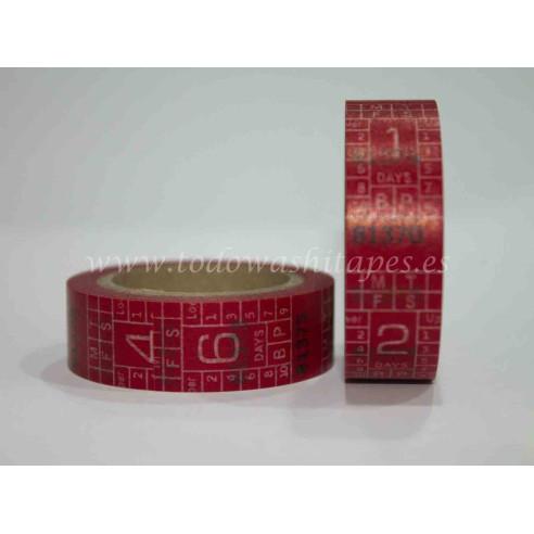 Washi Tape Cinta de Medir Roja