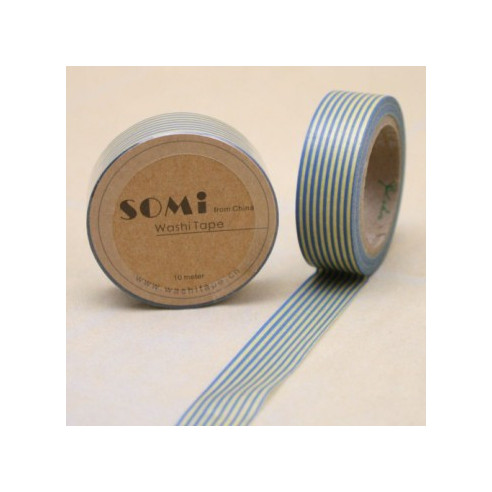 Washi Tape Lineas  Azul - Amarillo