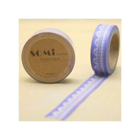 Washi Tape Azul Encaje Blanco