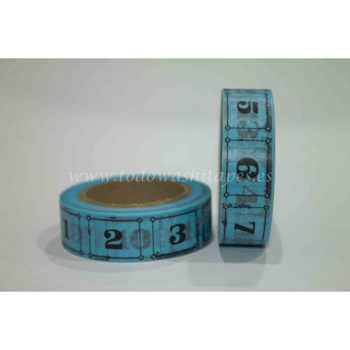 Washi Tape Azul Numeros