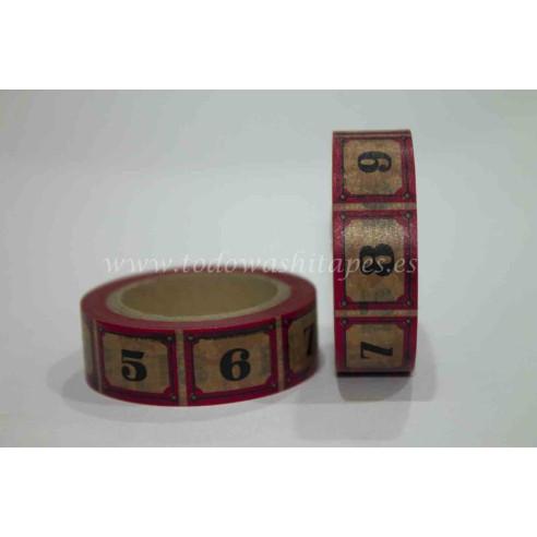 Washi Tape Rojo Numeros