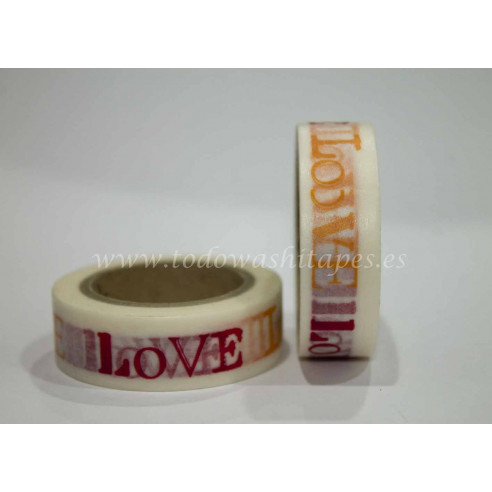 "Washi Tape ""Love"" Rojo y Naranja"