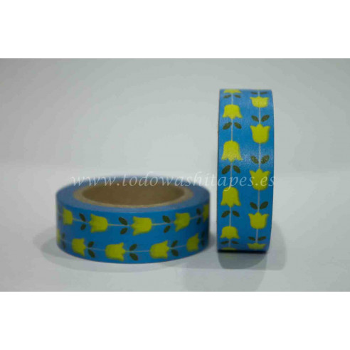 Washi Tape Azul Tulipanes Amarillos