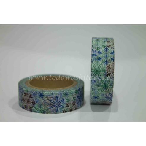 Washi Tape Copitos de Flores Azul