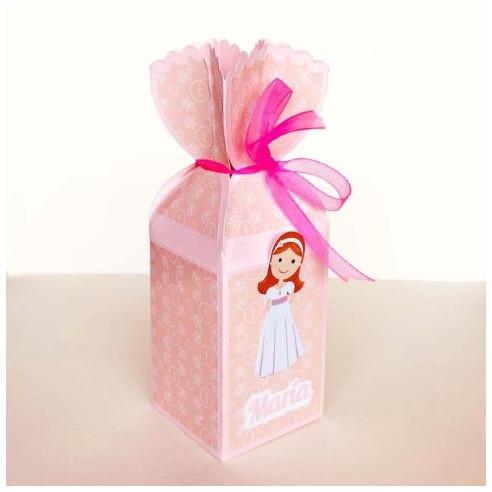 Cajita medio caramelo para Comunión Niña